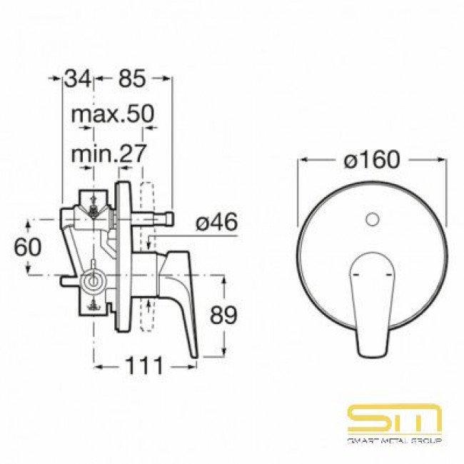 """Roca Atlas Вграден смесител 1/2"""" за вана-душ с автоматичен превключвател SM0023"""